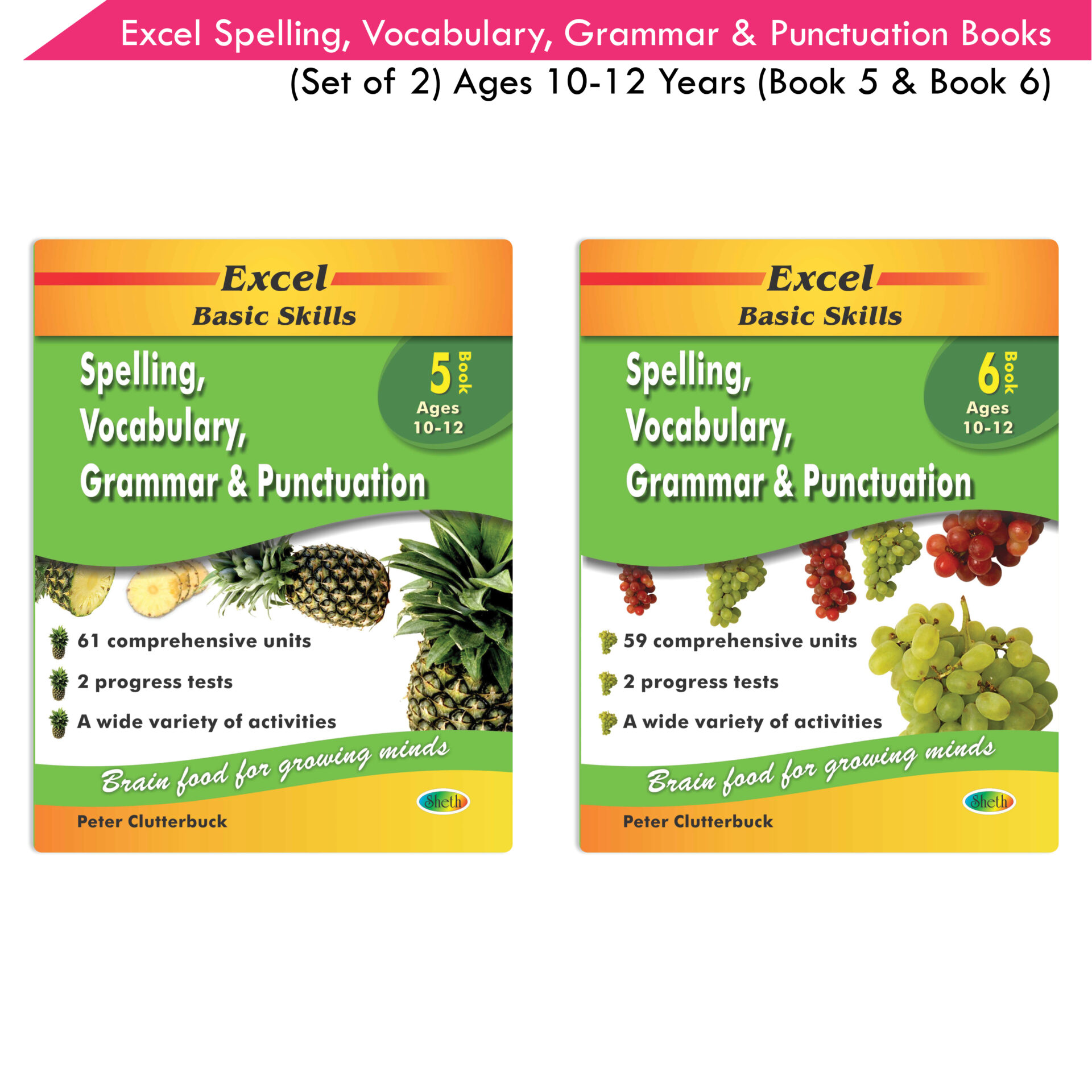 Excel Basic Skills Spelling Vocabulary Grammar and Punctuation Book Set Ages 10 12 Set of 2 1