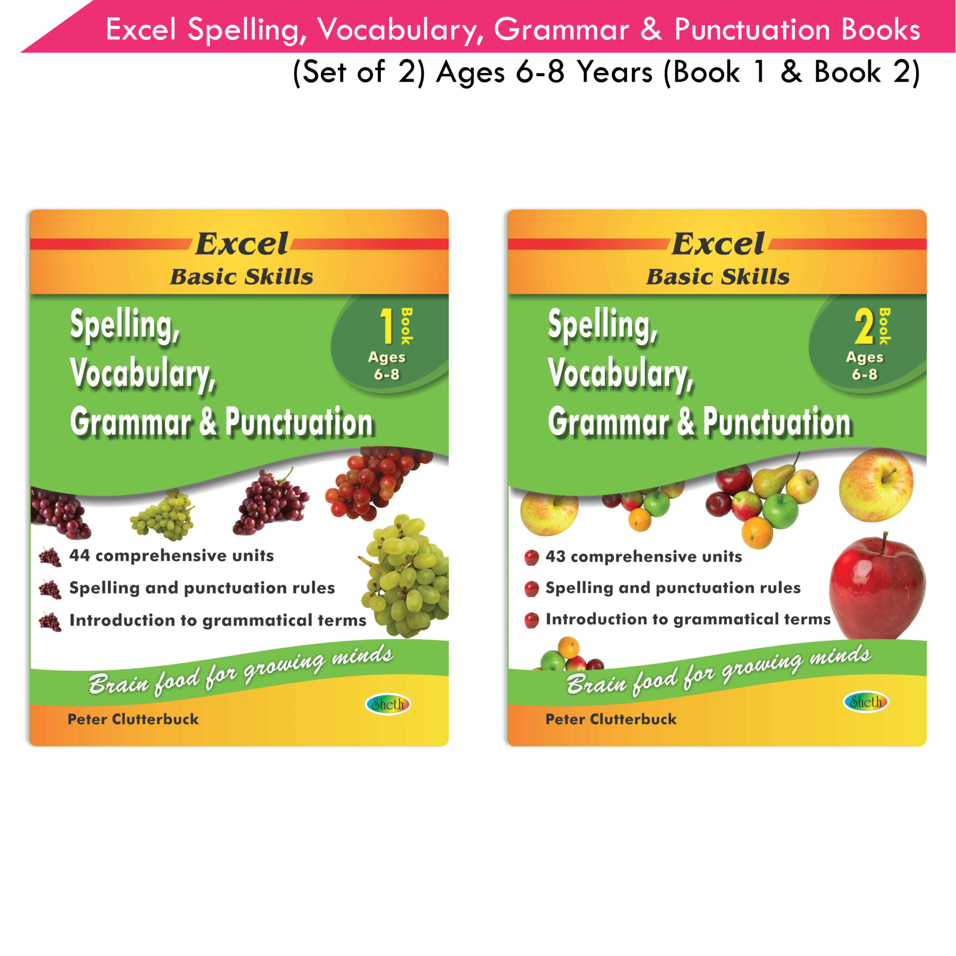 Excel Basic Skills Spelling Vocabulary Grammar and Punctuation Book Set Ages 6 8 Set of 2 1