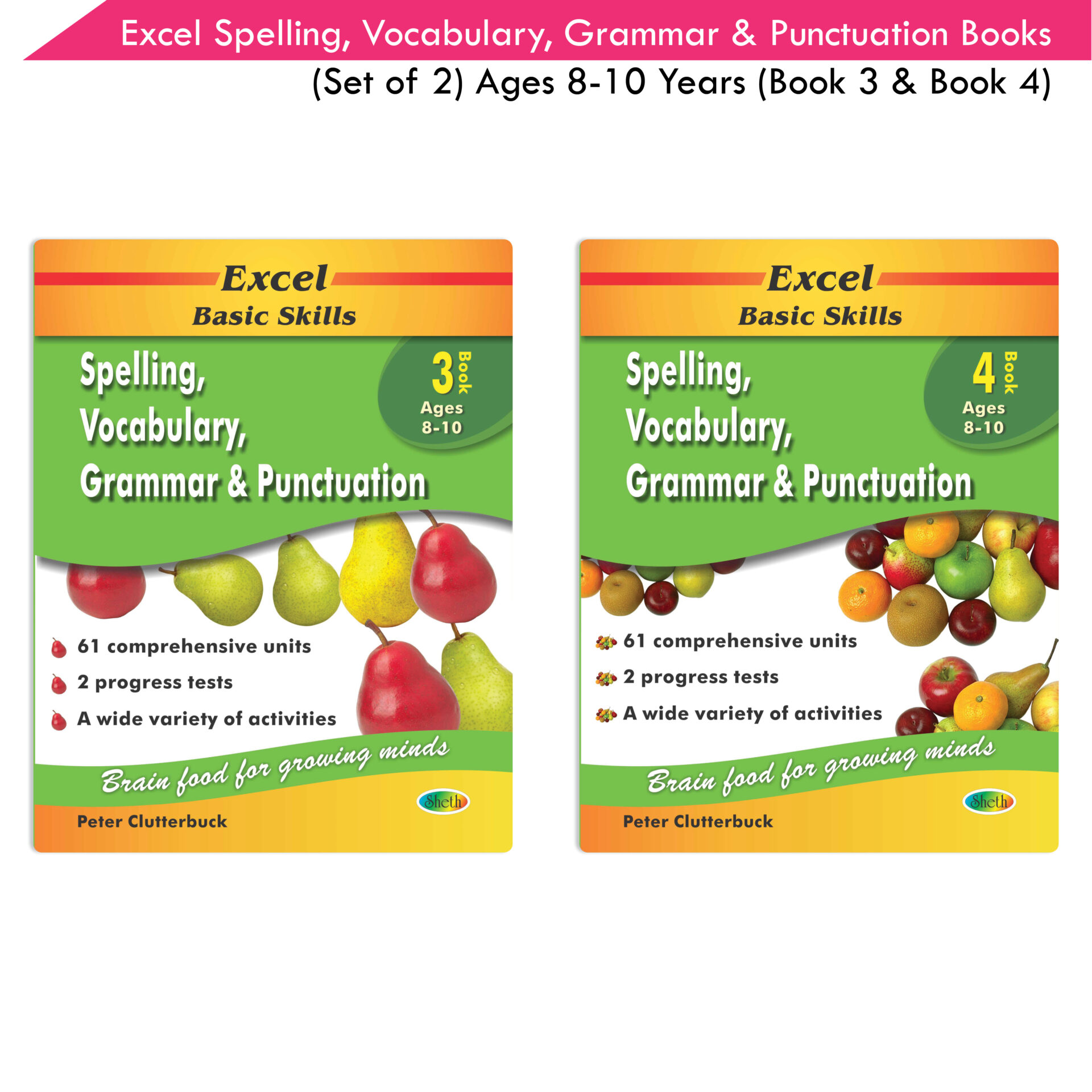 Excel Basic Skills Spelling Vocabulary Grammar and Punctuation Book Set Ages 8 10 Set of 2 1