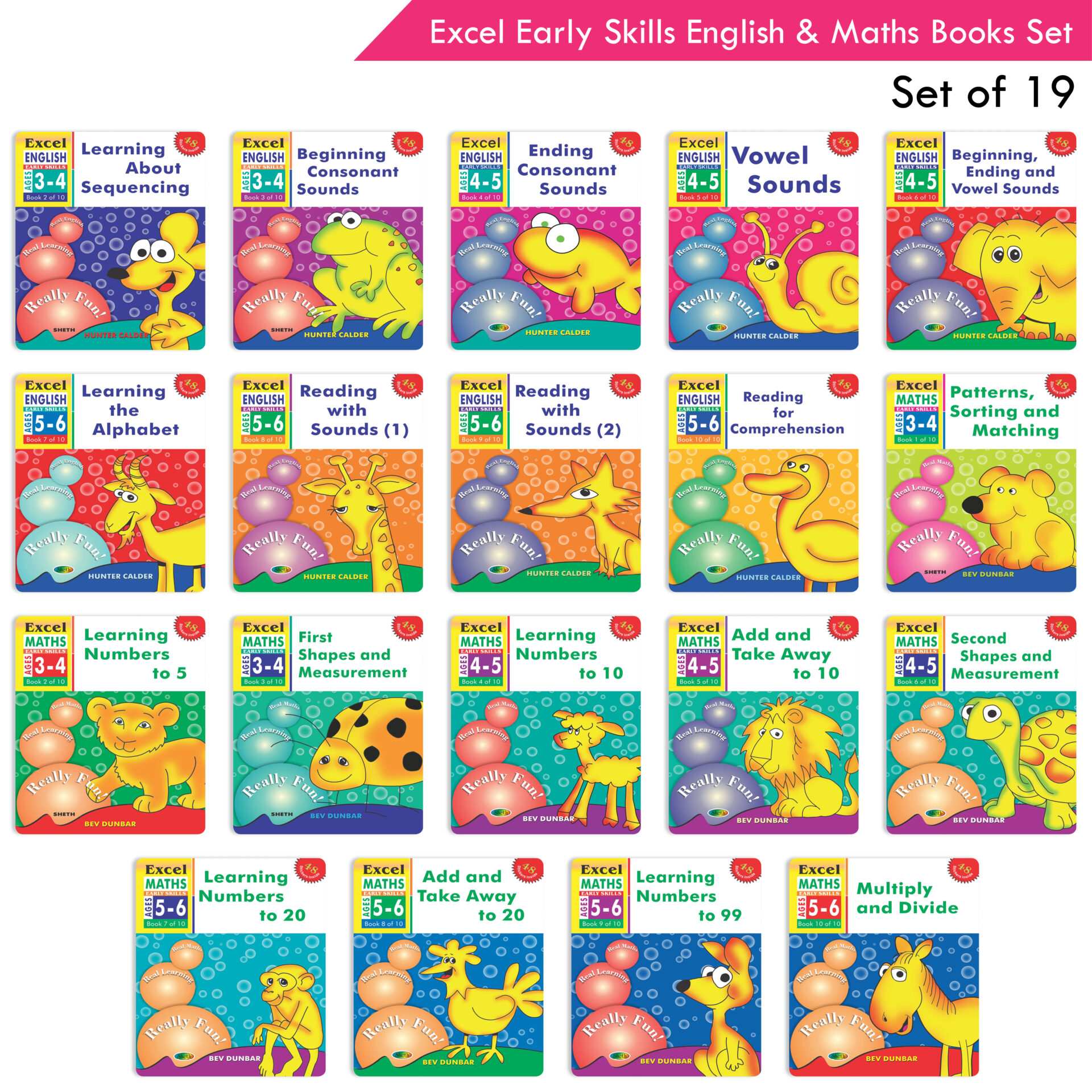 Excel English and Maths Early Skills Ages 3 6 Years Set of 19 1