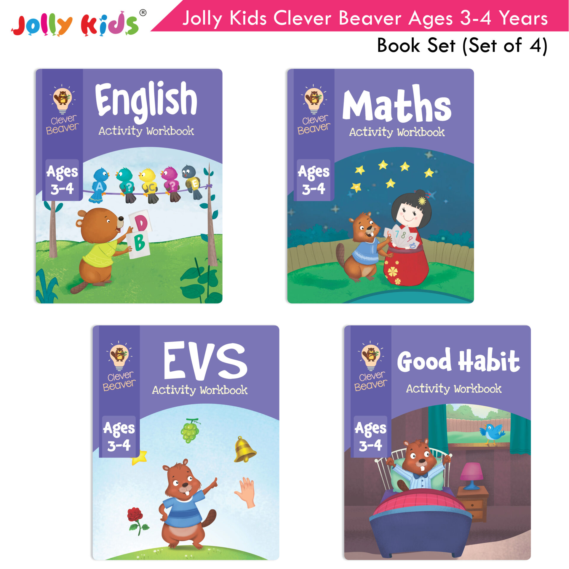 Jolly Kids Clever Beaver Ages 3 4 Years Book Set Set of 4 1