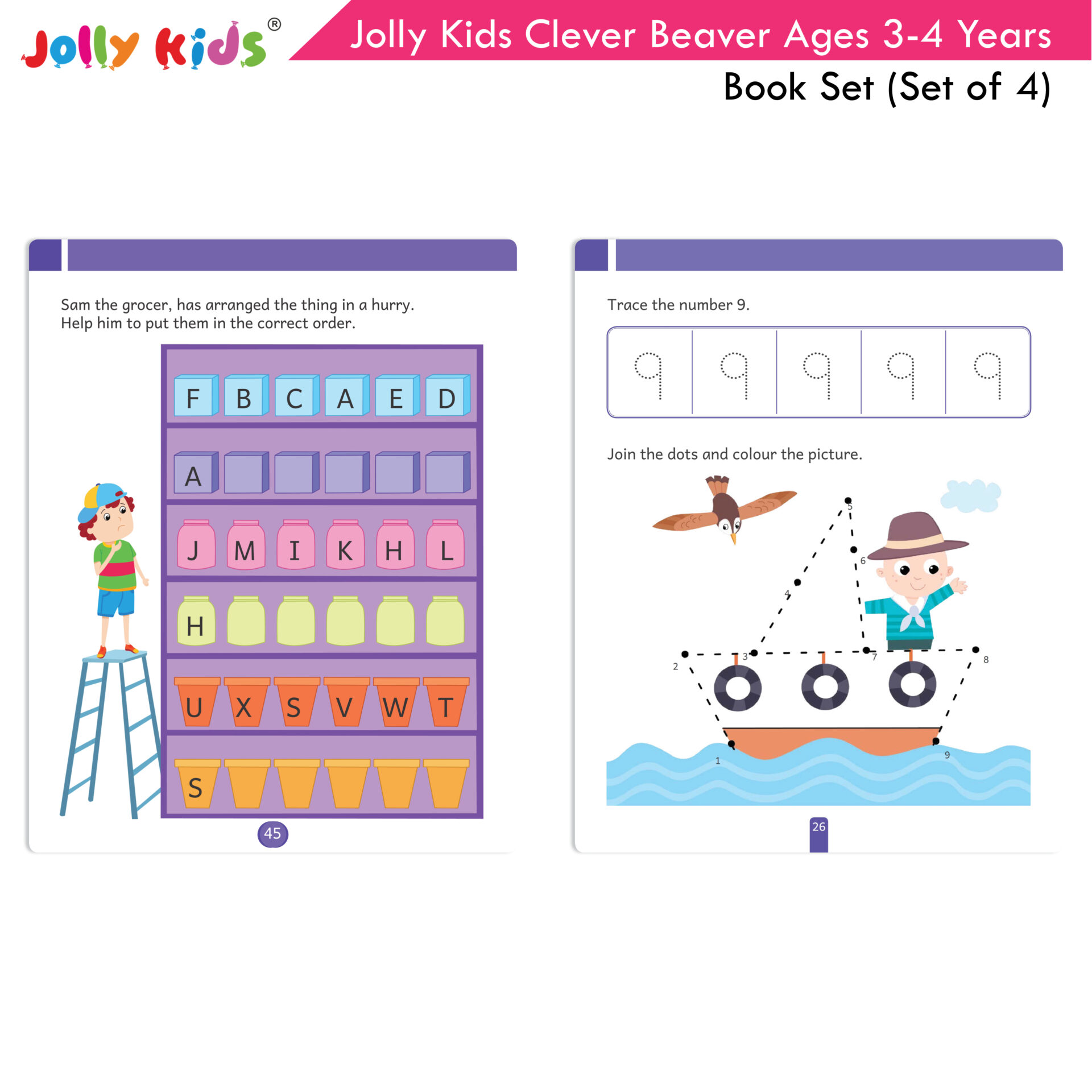 Jolly Kids Clever Beaver Ages 3 4 Years Book Set Set of 4 4