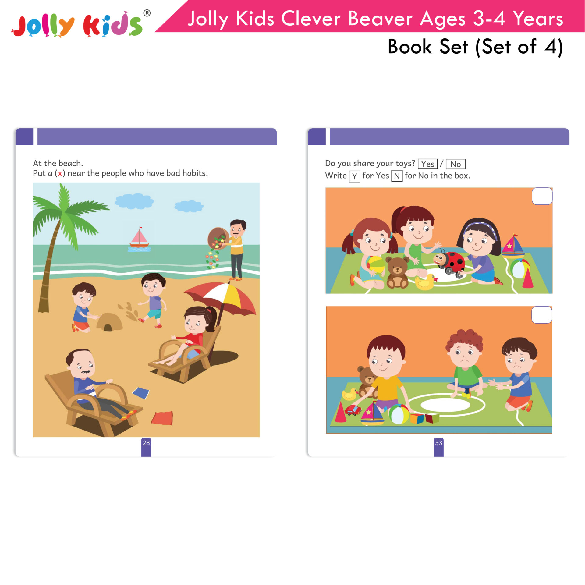 Jolly Kids Clever Beaver Ages 3 4 Years Book Set Set of 4 9
