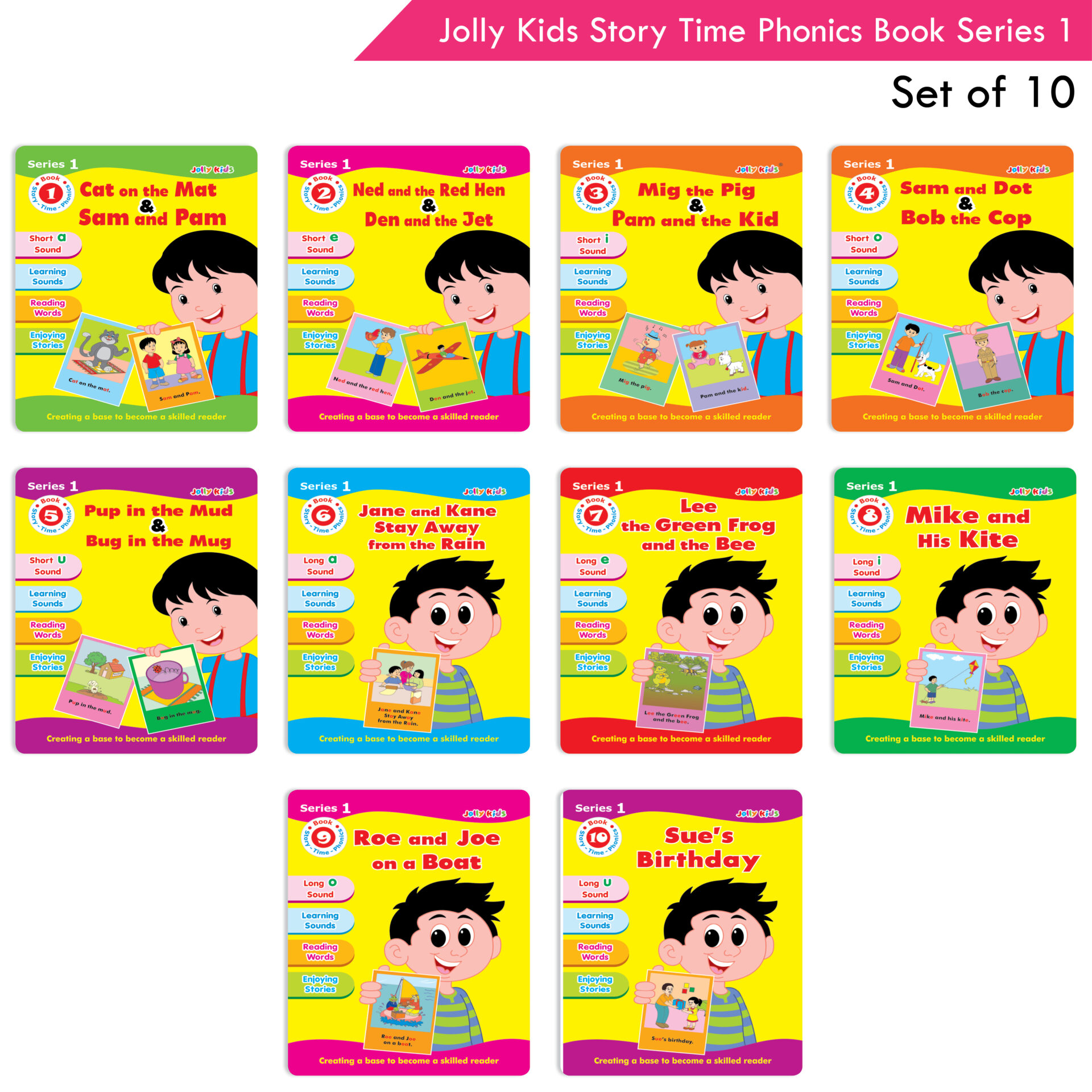 Jolly Kids Story Time Phonics Book Series 1 Set of 10 1