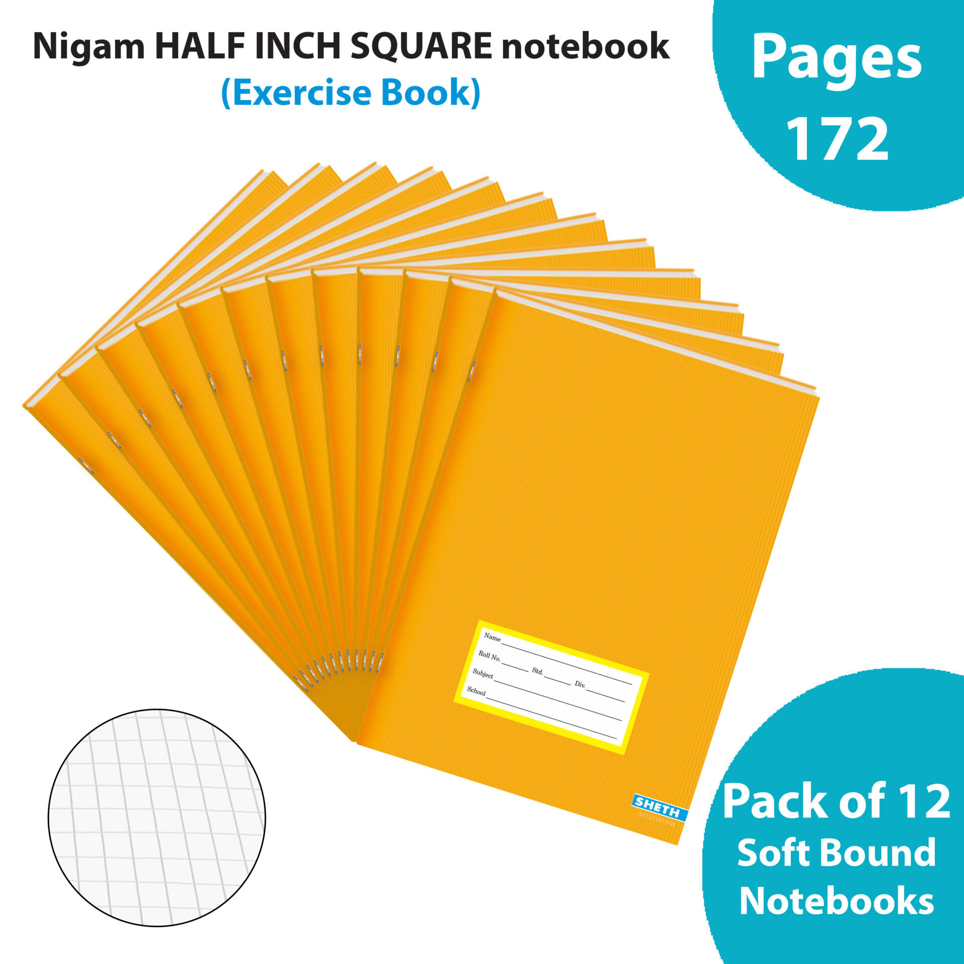 Nigam 12 inch Square A5 Note Book 172 Pages Soft Bound Set of 12 1