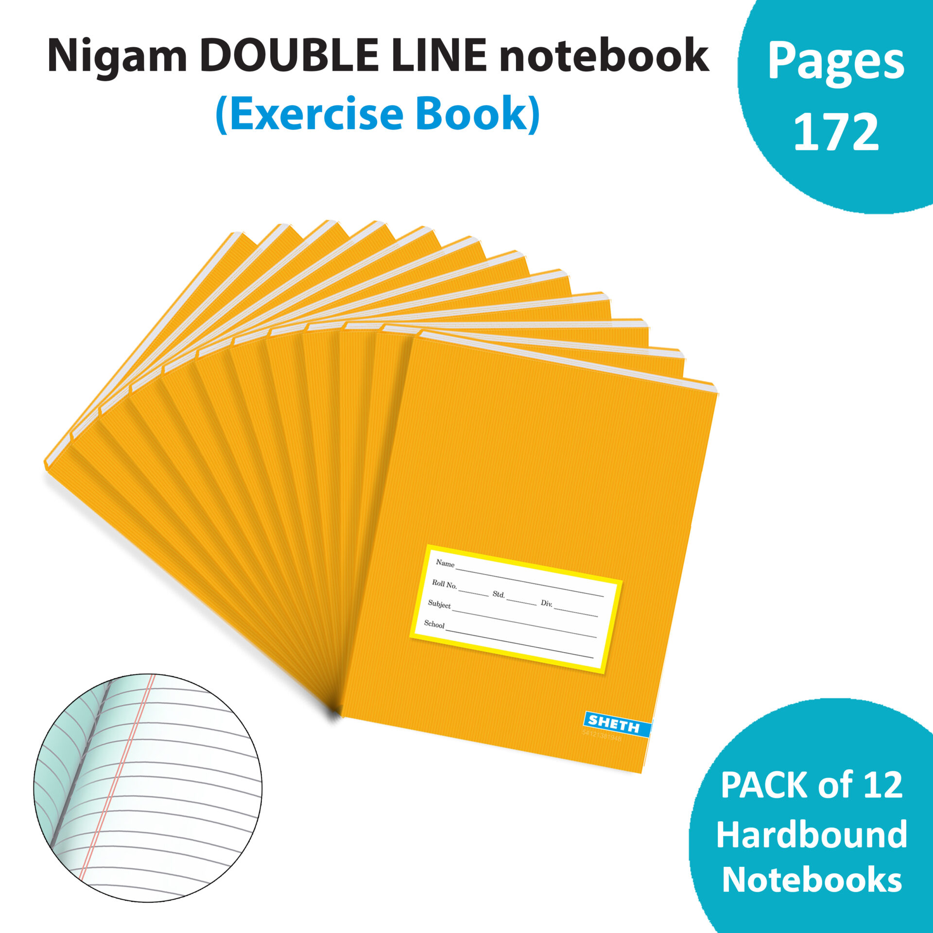 Nigam Double Line Note Book 172 Pages Hard Bound Set of 12 1