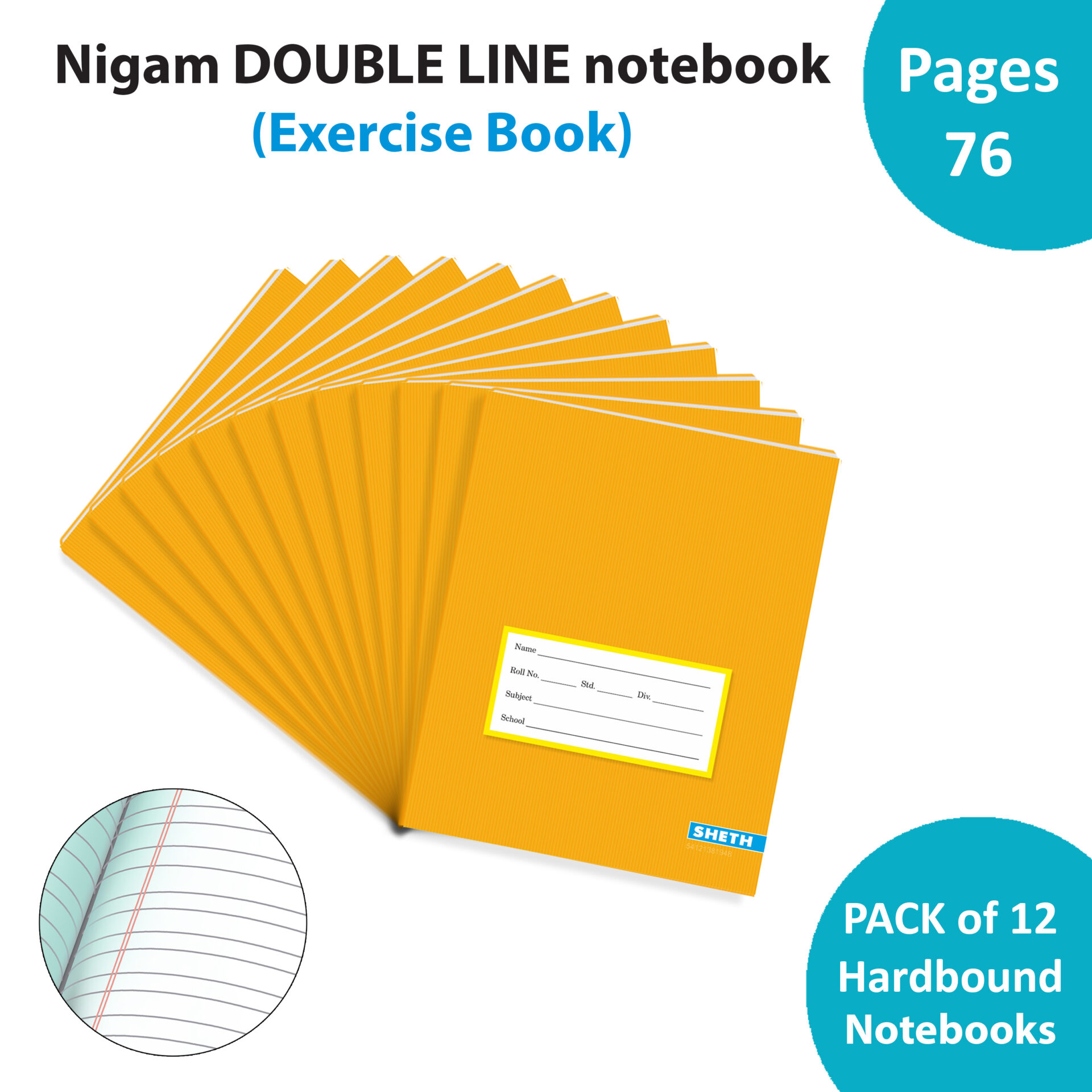 Nigam Double Line Note Book 76 Pages Hard Bound Set of 12 1