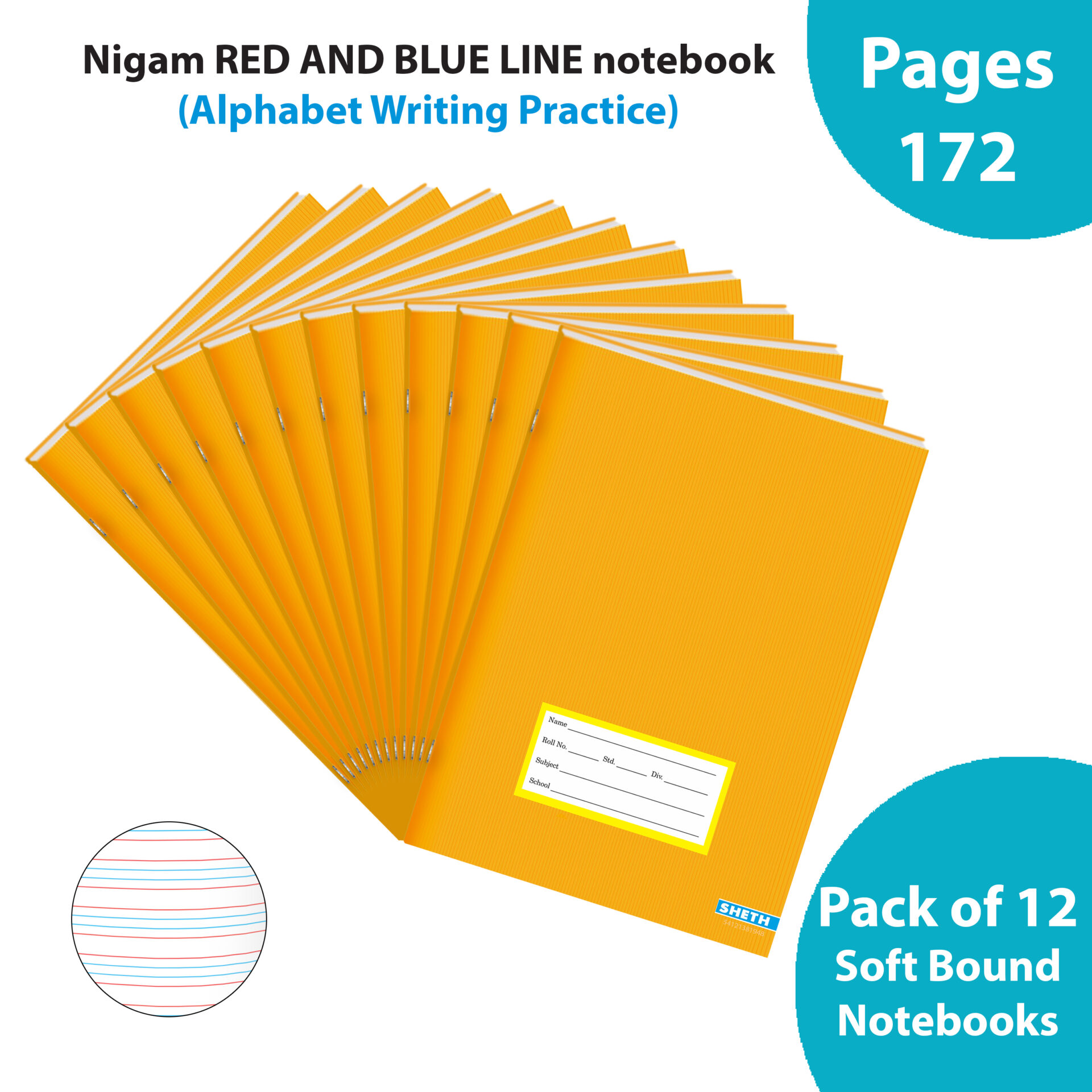 Nigam Red Blue Line A5 Note Book 172 Pages Soft Bound Set of 12 1