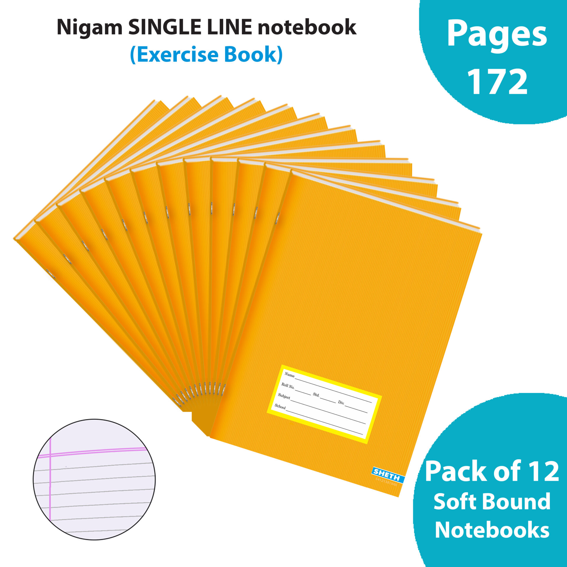 Nigam Single Line A5 Note Book 172 Pages Soft Bound Set of 12 1