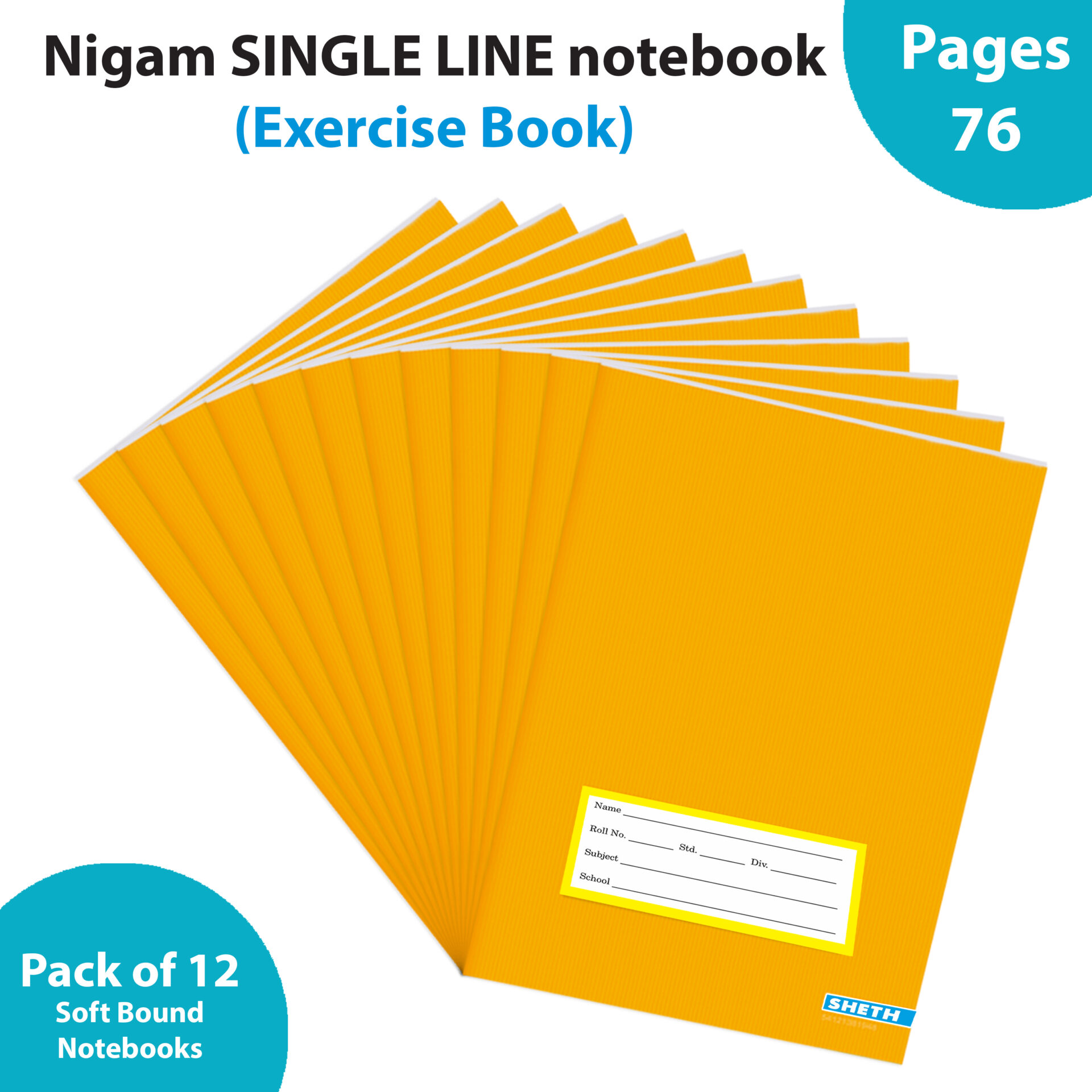 Nigam Single Line A5 Note Book 76 Pages Soft Bound Set of 12 1