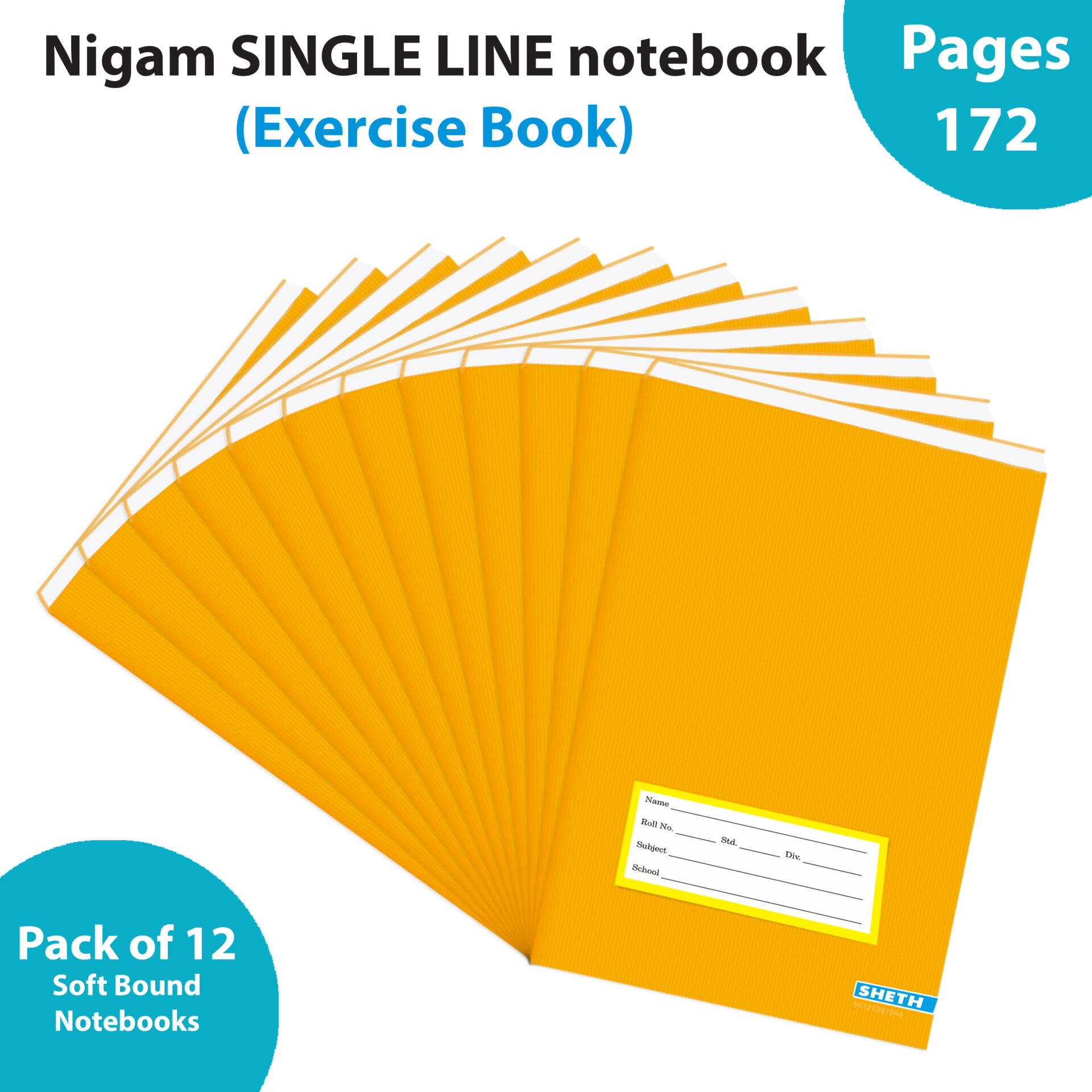 Nigam Single Line Long Note Book 172 Pages Soft Bound Set of 12 1