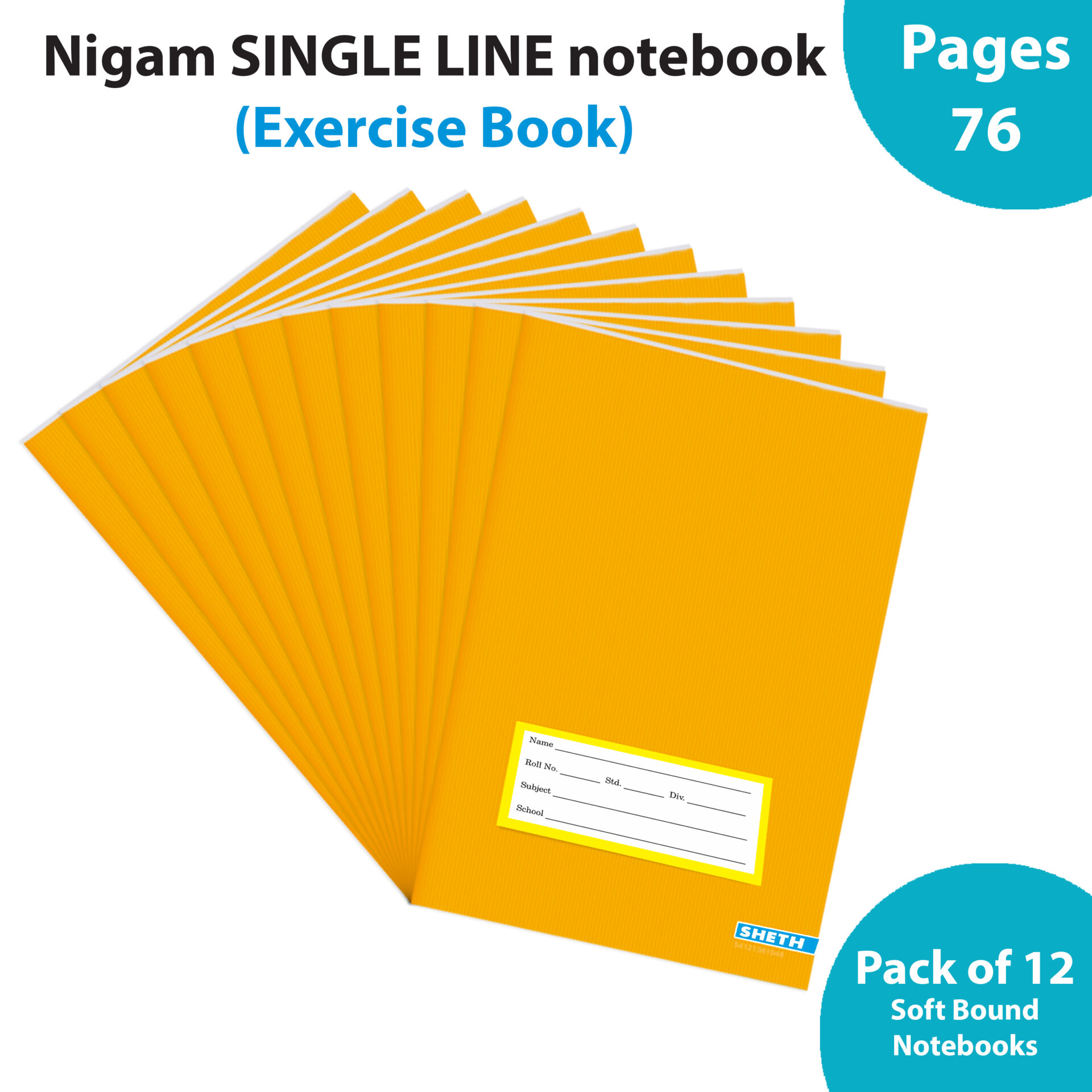 Nigam Single Line Long Note Book 76 Pages Soft Bound Set of 12 1