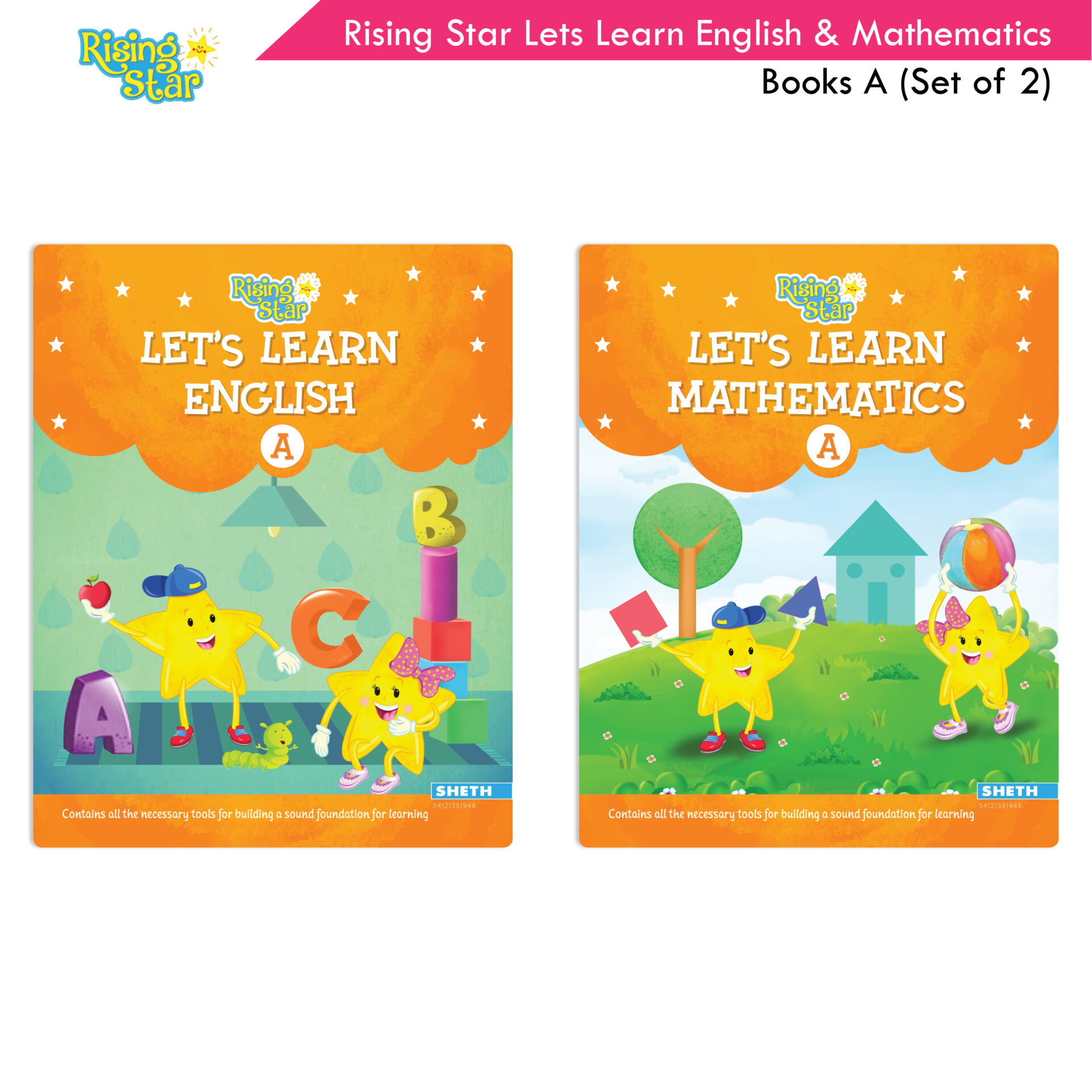 Rising Star Lets Learn English and Mathematics Books A Set of 2 1