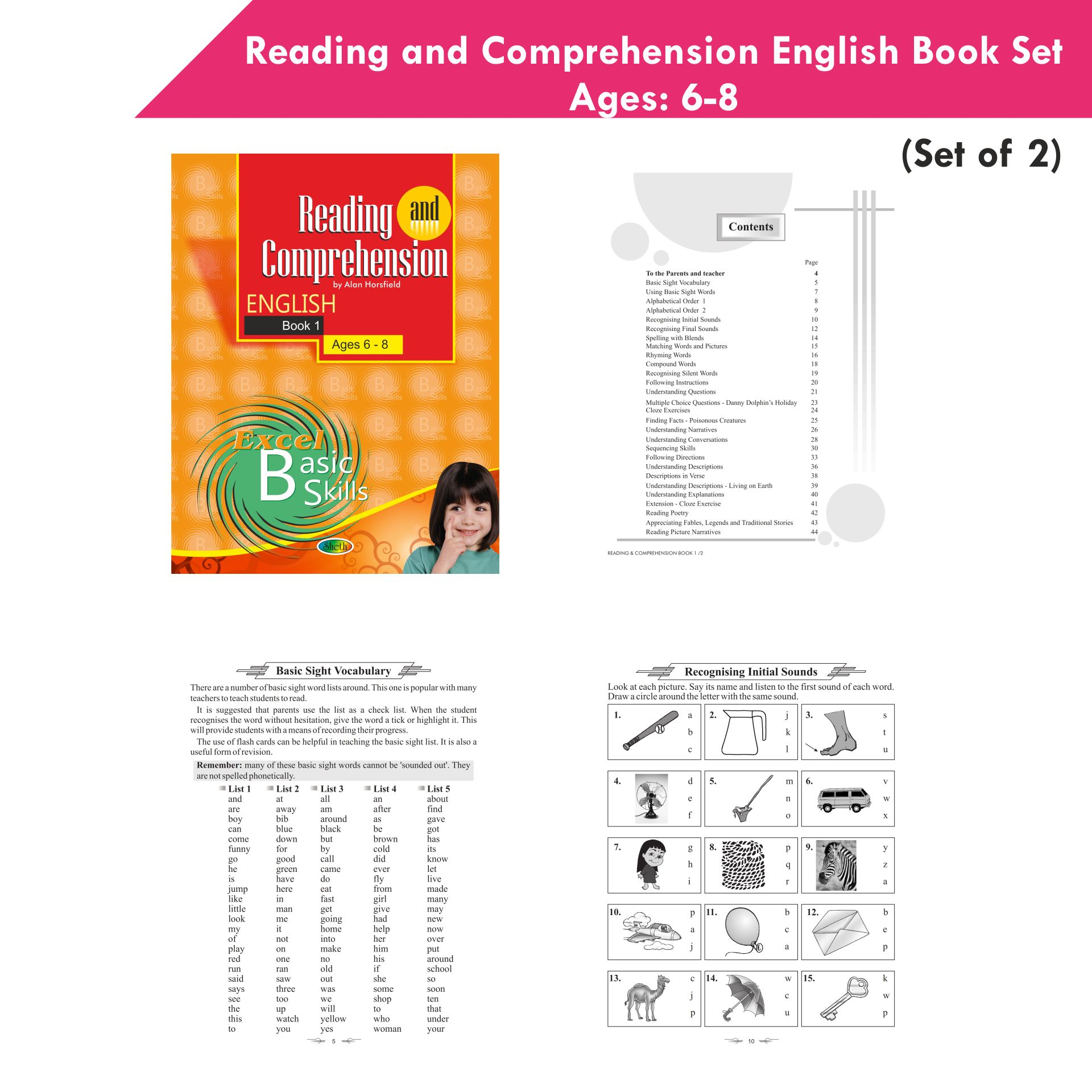 Excel Reading and Comprehension English Book Set 1 Set of 2 3