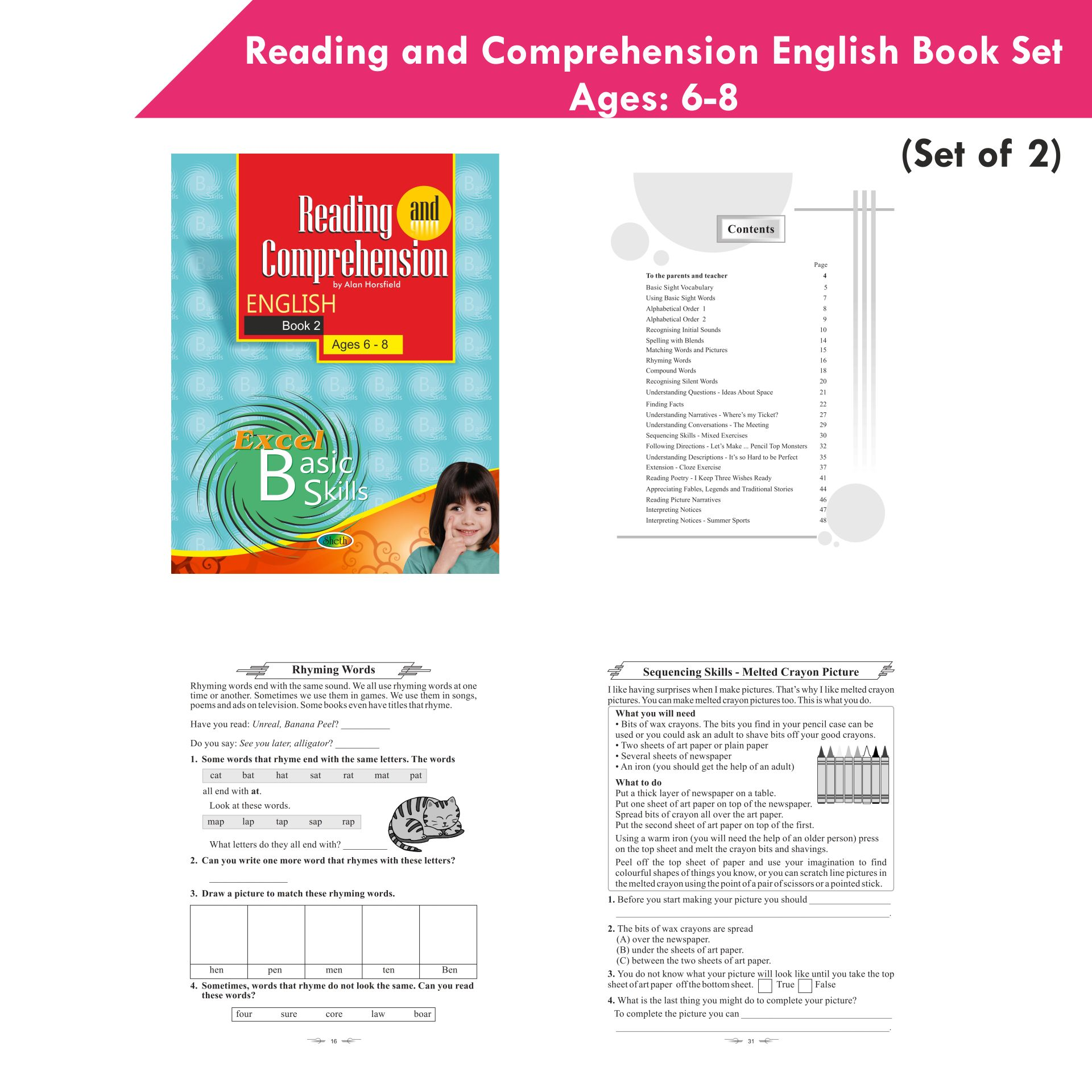 Excel Reading and Comprehension English Book Set 1 Set of 2 4