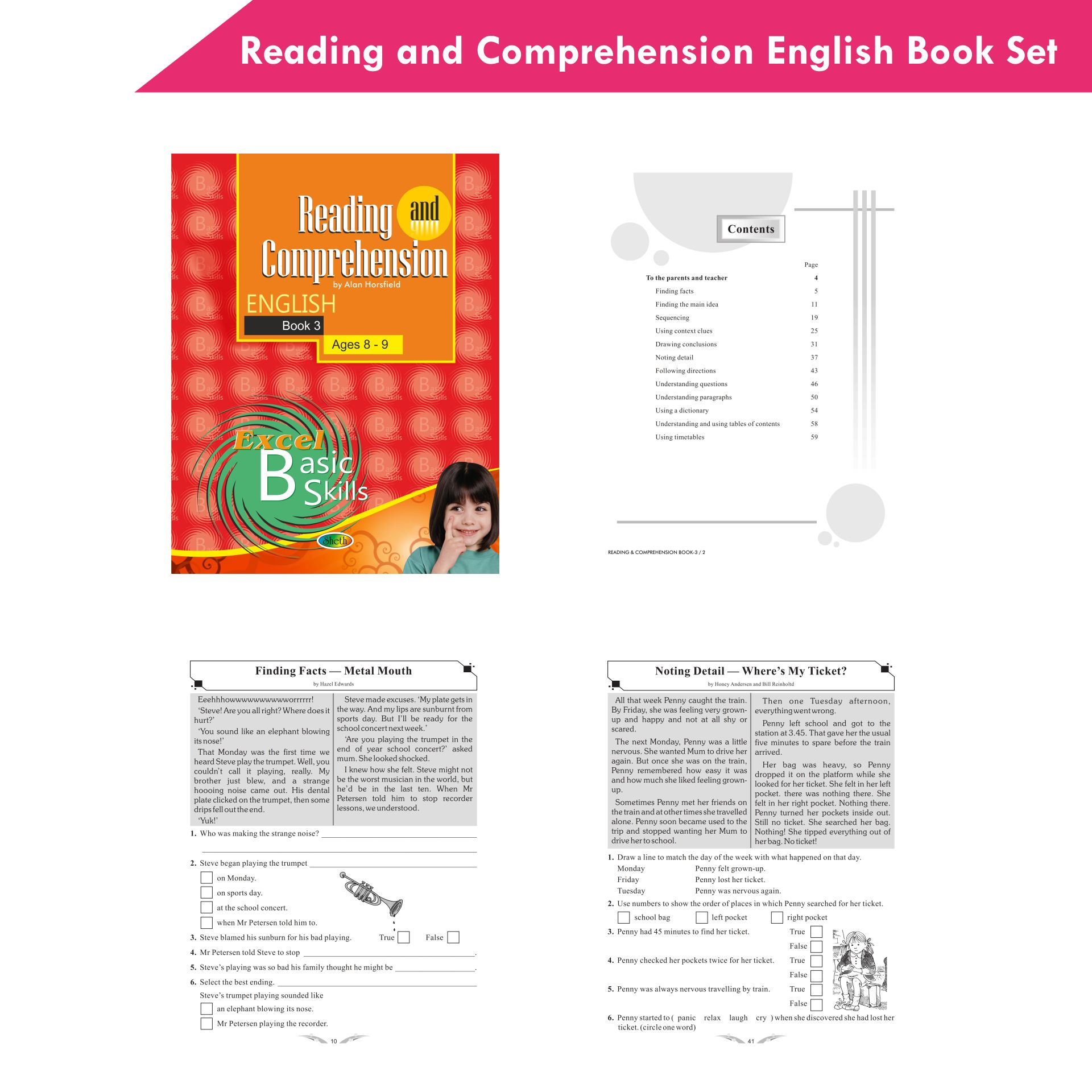 Excel Reading and Comprehension English Book Set Set of 6 5