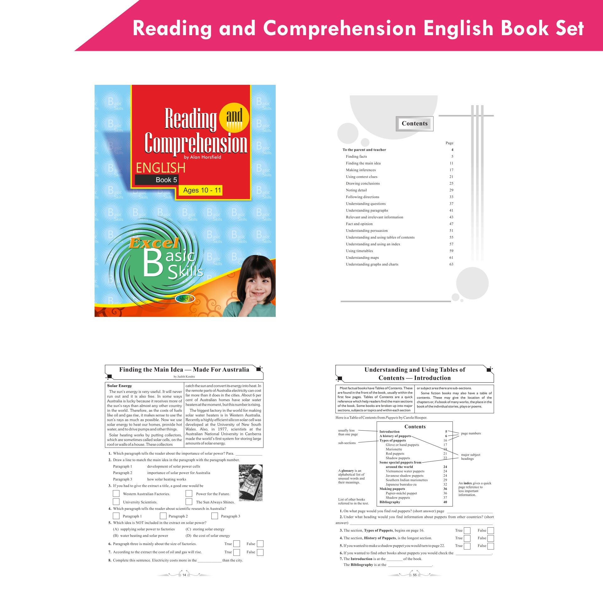 Excel Reading and Comprehension English Book Set Set of 6 7