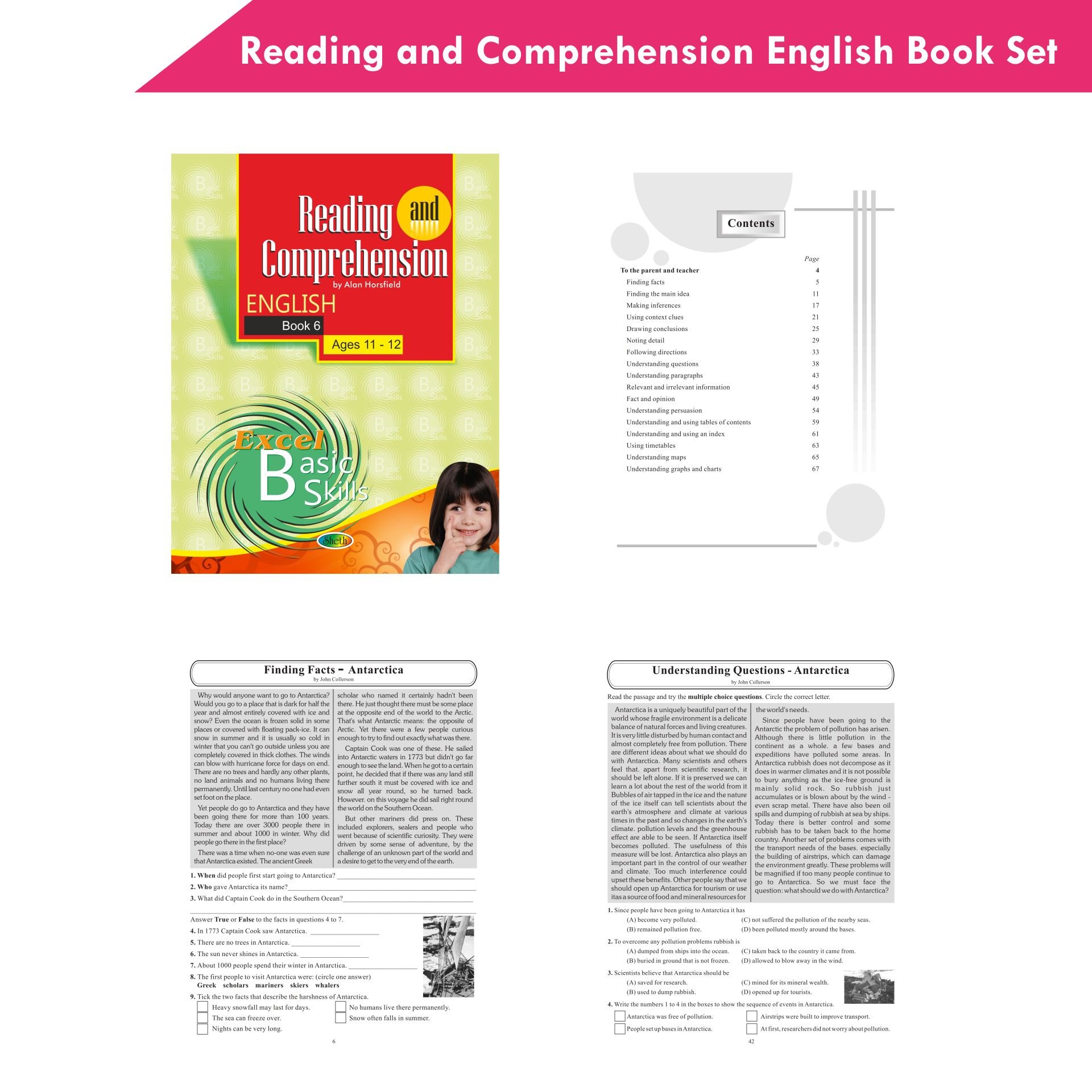 Excel Reading and Comprehension English Book Set Set of 6 8