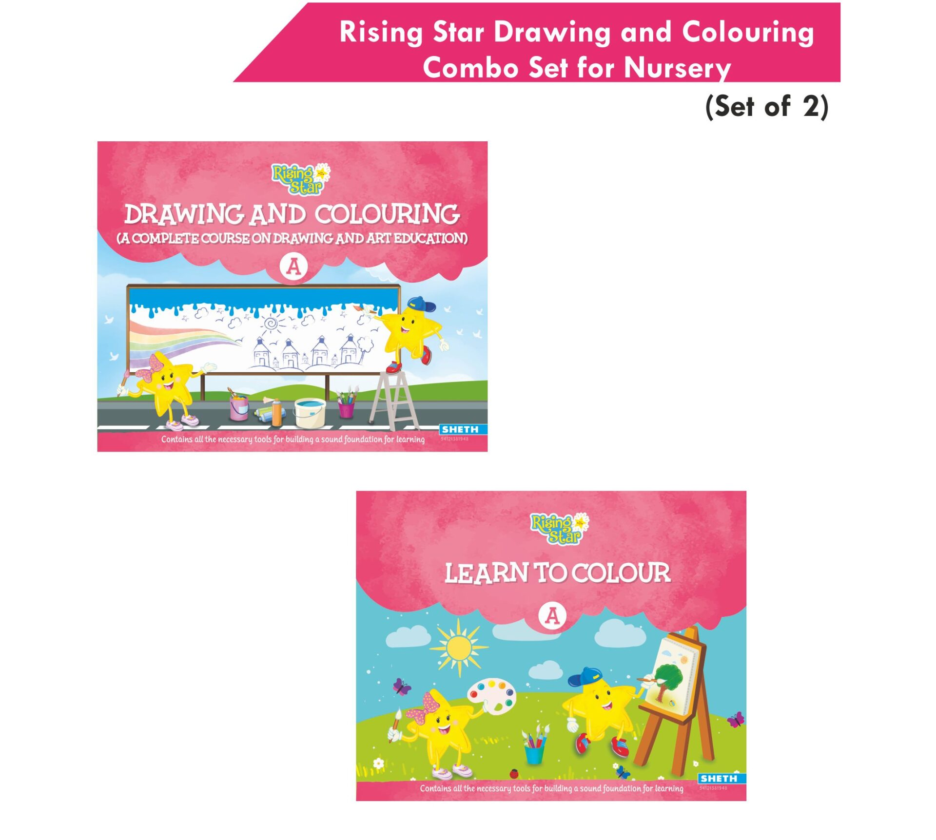 Rising Star Drawing and Colouring Combo Set for Nursery Set of 2 1