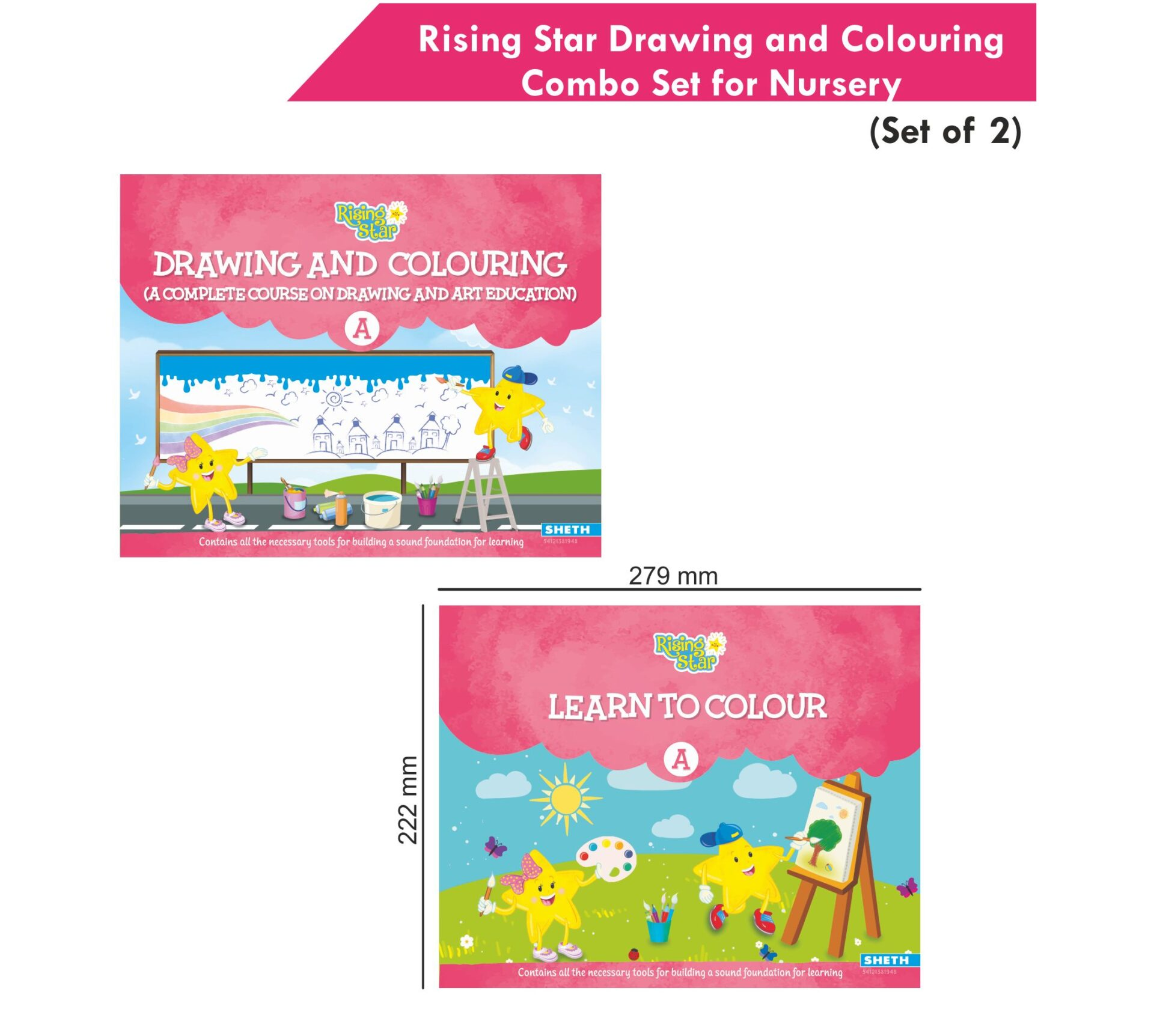 Rising Star Drawing and Colouring Combo Set for Nursery Set of 2 2