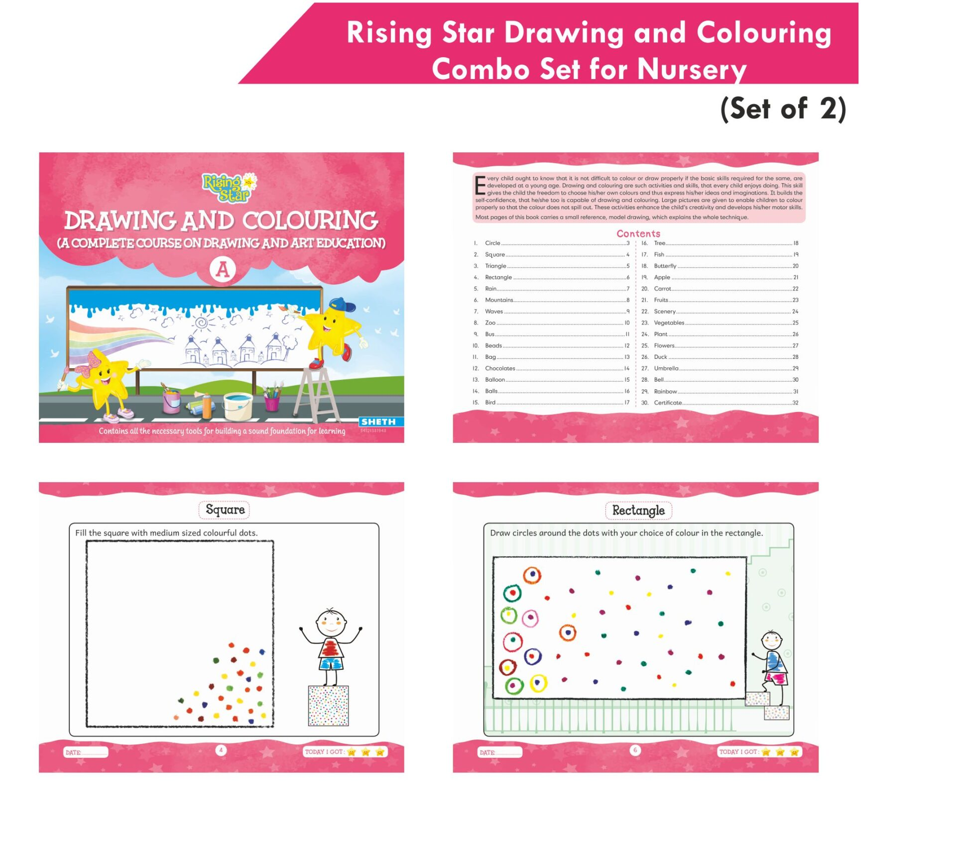 Rising Star Drawing and Colouring Combo Set for Nursery Set of 2 3