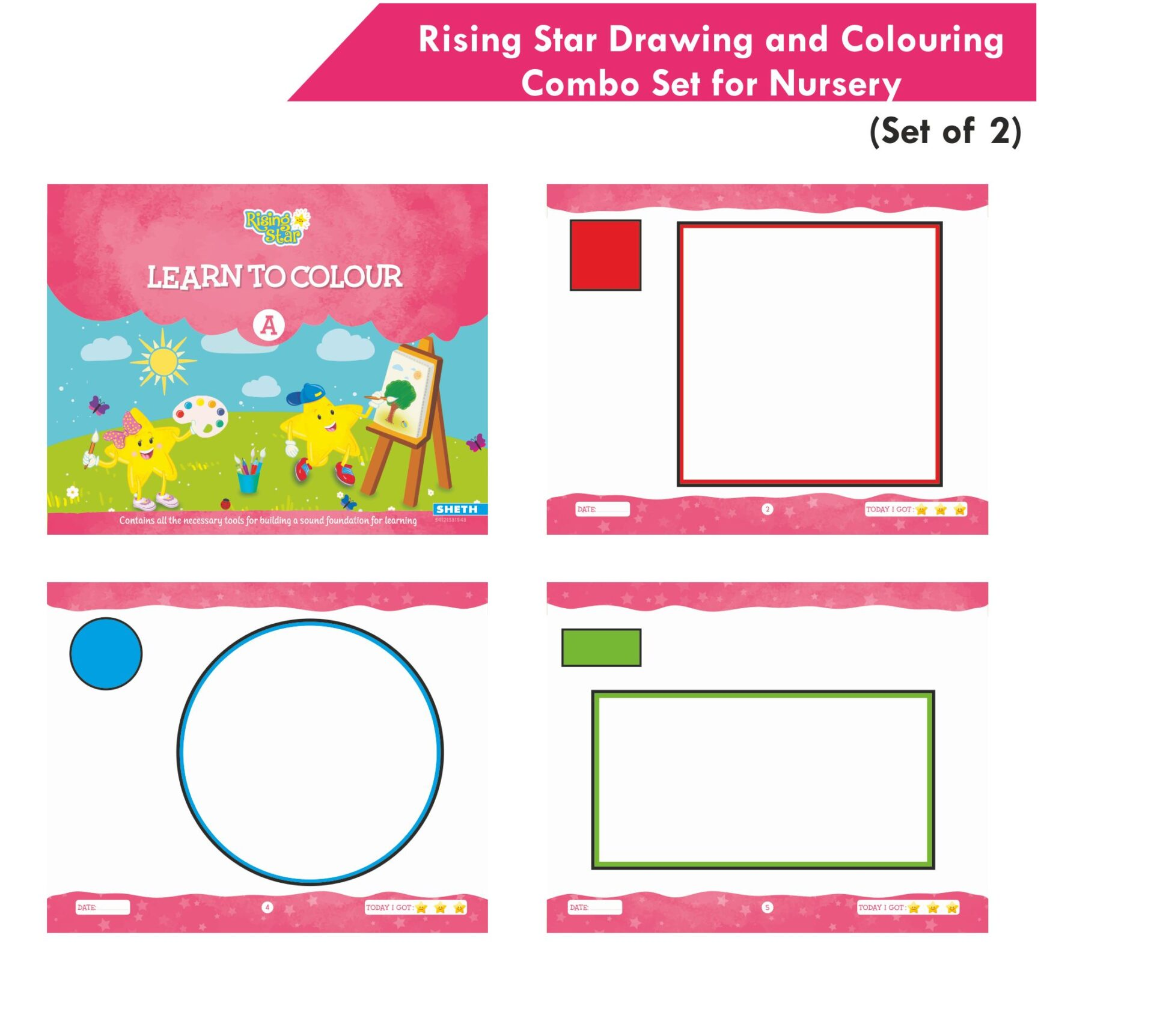 Rising Star Drawing and Colouring Combo Set for Nursery Set of 2 4