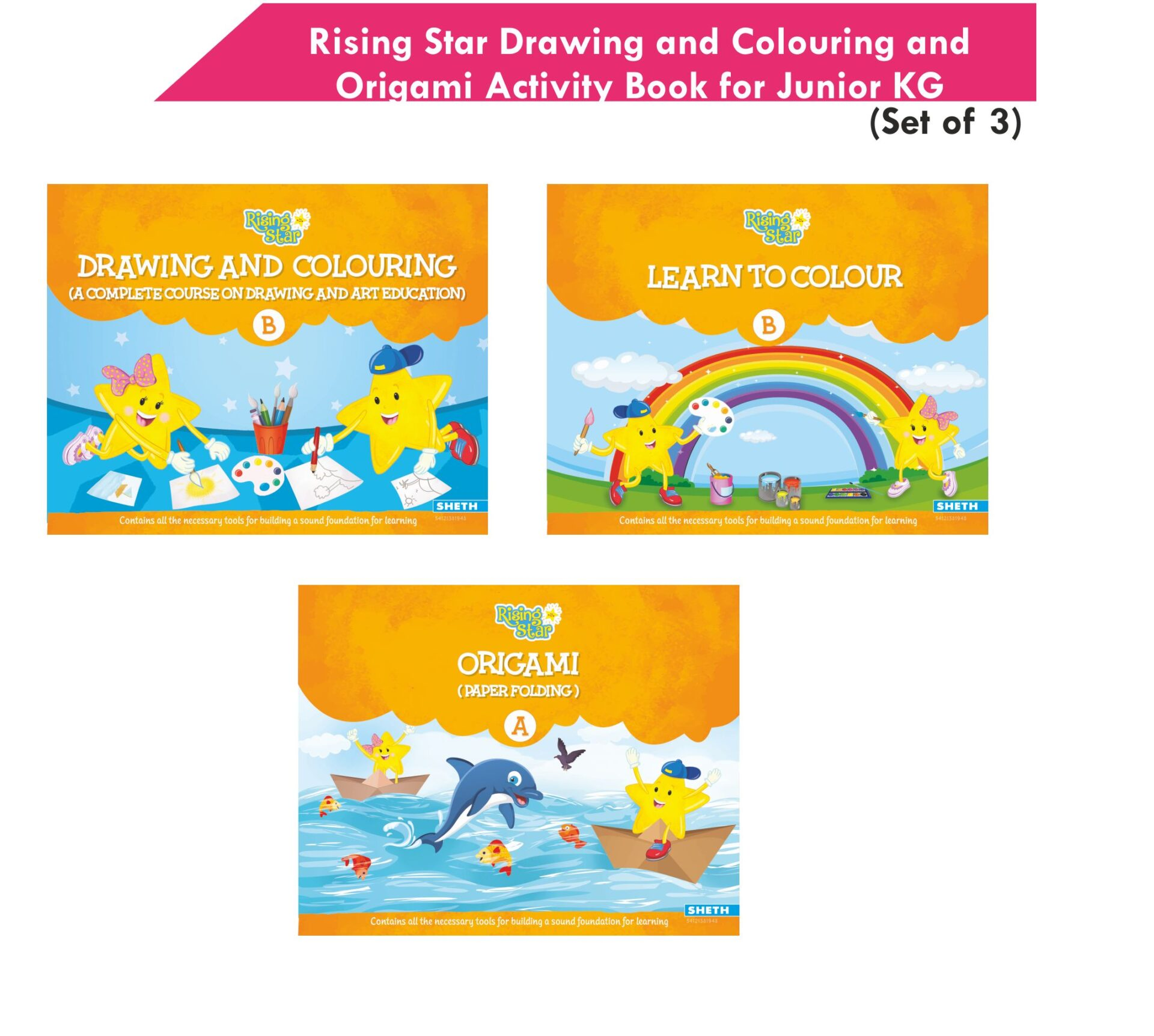 Rising Star Drawing and Colouring and Origami Activity Book for Junior KG Set of 3 1
