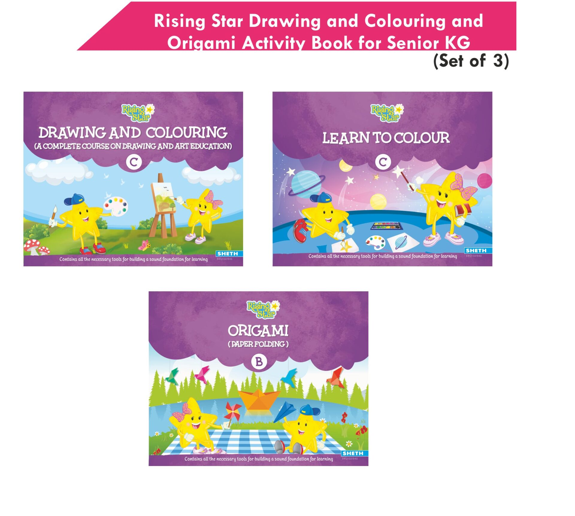Rising Star Drawing and Colouring and Origami Activity Book for Senior KG Set of 3 1