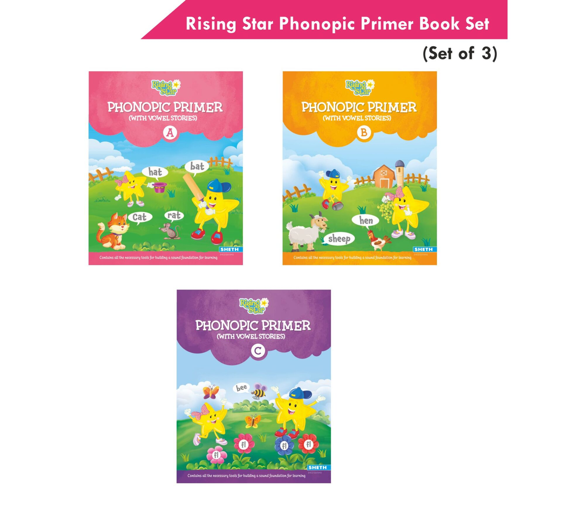 Rising Star Phonopic Primer With Vowel Stories Book Set Set of 3 1